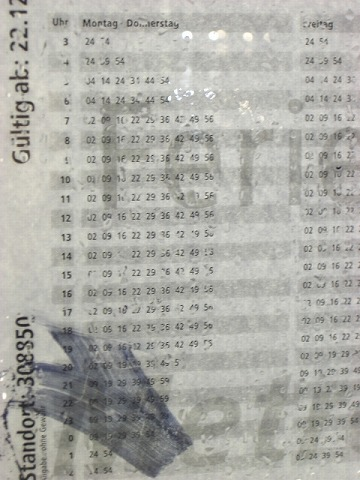 トラム時刻表